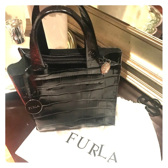 Furla Handbags - Furla leather embossed croc mini tote